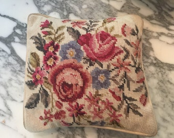Tapestry needlepoint small pillow