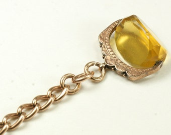 Antique British Watch Chain with Spinning Fob - Circa 1900 - Late Victorian