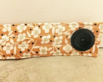 Orange Flowered Fabric Diaper Strap