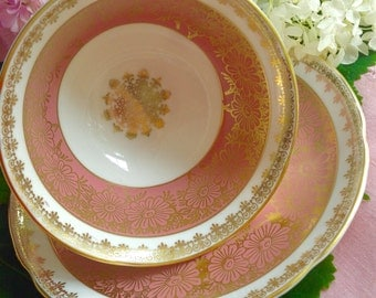 Pink, Gold & White Royal Grafton Tea Cup and Saucer, Bone China, England, Mid Century
