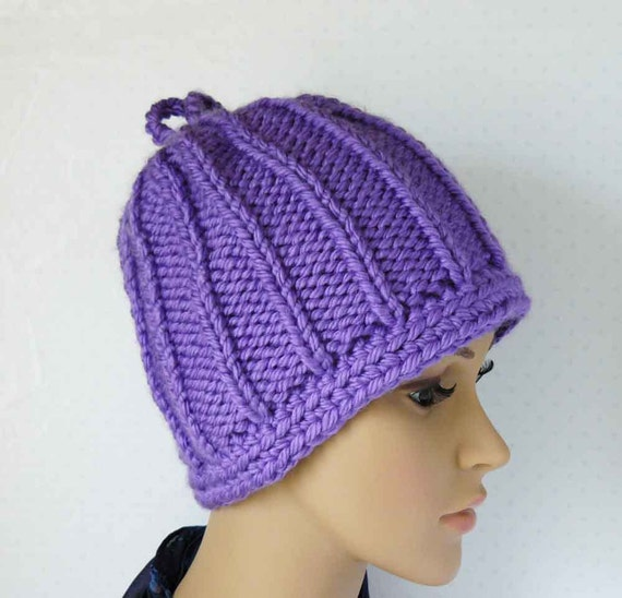 Womens Hat Knitting Pattern : Knitted Chunky Beanie Womens Knit Hats Hand Knitted Womens