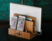 Customized bamboo multi charging station, eco-friendly, organizes tech and cords, charges phone, tablet, laptop, dock