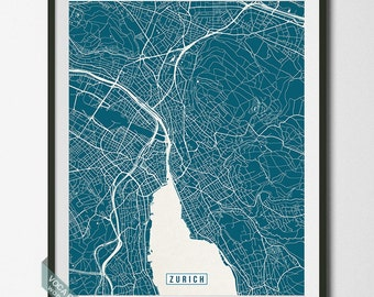 Zurich Print, Switzerland Poster, Zurich Poster, Zurich Map, Switzerland Print, Street Map, Switzerland Map, Christmas Gift