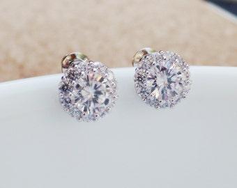 Bridesmaid Gift Bridesmaid Jewelry Bridal Jewelry Wedding Jewelry Cubic Zirconia Earrings ,bridesmaid gift