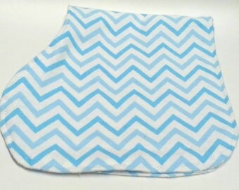 Blue and white chevron contoured baby burp cloth