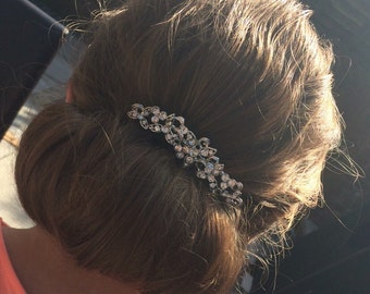 "Bridal ""Emma"" hair comb accessory silver with rhinestone crystal detailing"