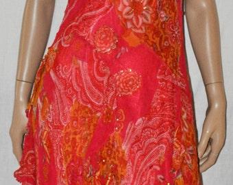 Halter Midi Dress, Backless Summer Dress, Pink Fucsia Dress, Sleeveless Party Dress, Asymetric Party Dress, Party Dress Made in Italy Size S