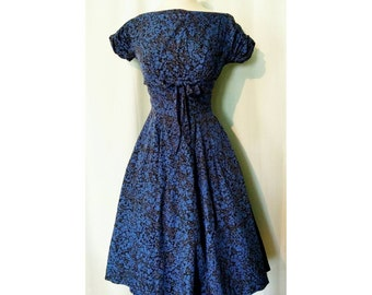 Blue on Black Floral Pattern 50s Day Dress with Pockets