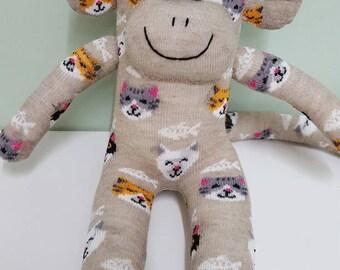 Handmade Cat Sock Monkey Doll