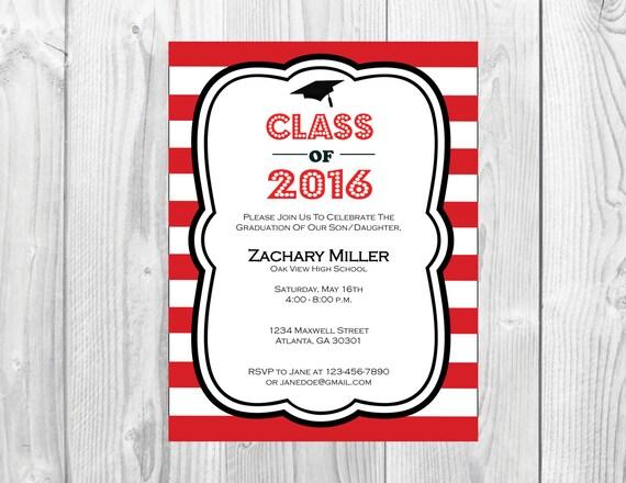 Class of 2016 Graduation Party Invitation << Choose Your Colors >> College or High School Graduation Invite >> Custom Printable Digital File