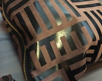 Chocolate tribal leather clutch