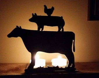 Cow, Pig, Chicken Steel Candle Holder