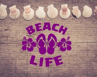 Beach Life-Flip Flop-Vinyl Hibiscus-Car Decal- Water Bottle-Coffee Mug-Cup-Canvas