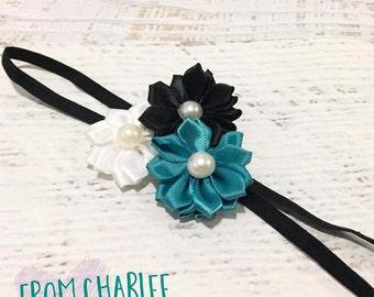 Blue Teal, Black & White Headband - Handmade