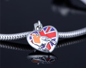 Great Britain Flag Charm UK With Robin Fits Pandora Silver Charm Very Unique