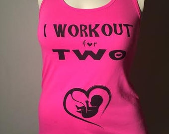 I WORKOUT FOR TWO Hot Pink -L- ladies tank top