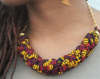 Red African Print Bib Statement Necklace