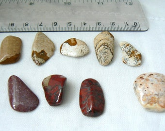 Set of 9 Jasper polished stones - P153 - Jasper Gemstones