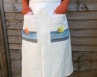 Unique Linen mix apron skirt with beautiful original still life paintings on pockets