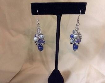 Blue/Silver Beaded Cluster Drop Earrings