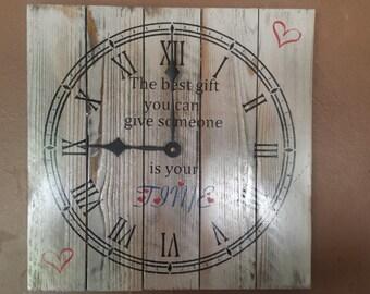 Wood, handmade Time quote clock, free usa t-shirt