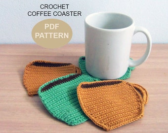 Crochet Coffee Coaster PDF Pattern, crochet coffee coasters, patterns&tutorials, drink coasters