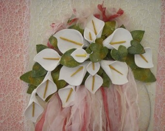 "Wreath on canvas, 36"" 23"" (91 X 58 cm), Calla lilies by clay"