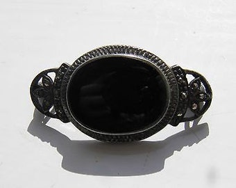Vintage Sterling Silver Marcasite Onyx Pin/Brooch - 1920's