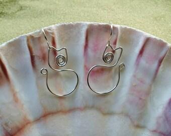 Silver Cat Earrings, Kitty Earrings, Wire Earrings, Wire Wrapped Earrings, Hypoallergenic Earrings, Gifts for Women, Wire Earrings