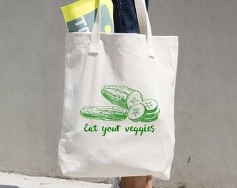 Eat Your Veggies Tote Bag, Farmer's Market Bag, Market Tote, Reusable Bag, Reusable Shopping Bag, Grocery Bag, Bull Denim Tote - Sturdy Tote