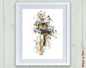 Star Wars Yellow Stormtrooper printable watercorlor poster, Stormtrooper instant download print, Stormtrooper digital download nursery art