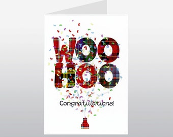 Congratulations Card Woohoo Tartan WWCN08