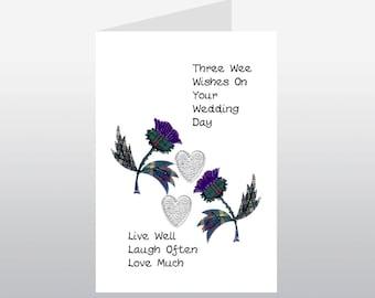 Scottish Wedding Card Thistle WWWE55
