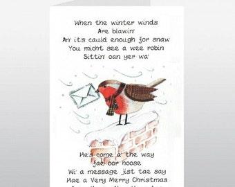 Scottish Christmas Card Robin On Wall WWXM19