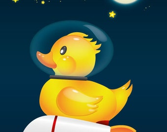 Poster of a Rubber Duck in space