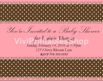 Baby shower invitation pink and brown digital printable