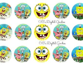 INSTANT DOWNLOAD-One Inch 4x6 Bottlecap Image Sheet-Spongebob Squarepants-Spongebob-1 inch