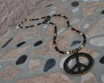 Long Glass Beaded Necklace with Peace Sign Pendant