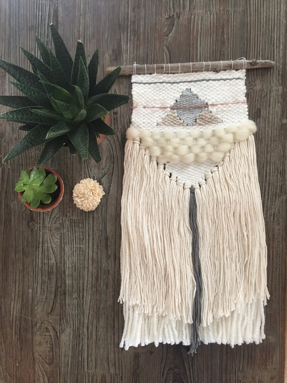 Woven wall hanging // MADE TO ORDER / Wall Hanging / Grey Copper Cream White Neutral / Nursery Art / Home Decor / Boho / Wall Art /