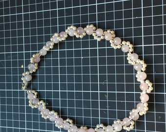 Rose Quartz and Swarovski Pearl Bracelet