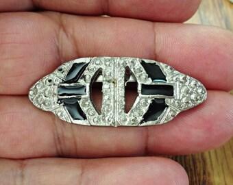 vintage exotic design PEWTER brooch  / cc7