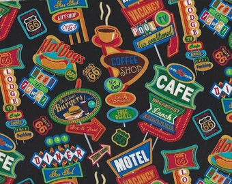 Cafe, Hotels,Diners,Signs Timeless Treasures on Black