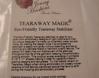 "Jenny Haskins Tear Away Magic Stabilizer 8 1/2"" x 11"" 20 Sheets"