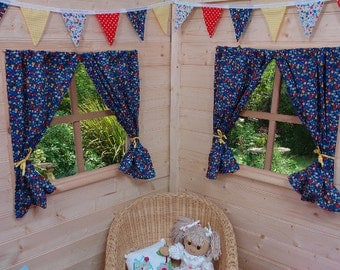 Blue Garden Flowers Playhouse Curtains