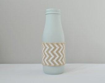 Add On, Single Vase, Jar, Rustic Decor, Blue Vase, Chevron Vase, Small Vase, Chic Vase