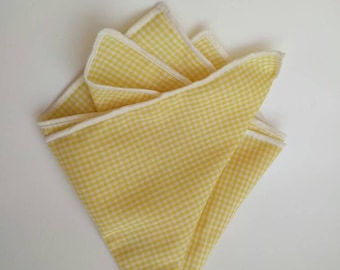 Yellow and White Pocket Square
