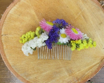 Wedding hair comb dried flowers hair comb bridal hair comb bridal headpiece hair accessories, bridal hair accessories wild flowers hair comb