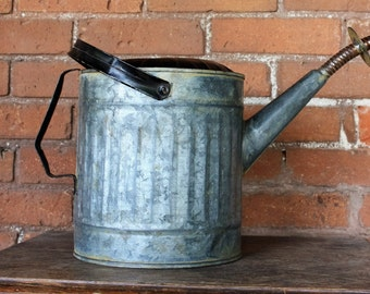 Vintage Industrial Garden Galvanized Watering Can / Gas Can