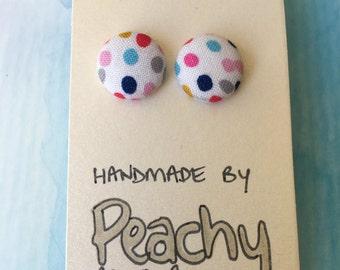 15mm Rainbow Dot Fabric Earrings