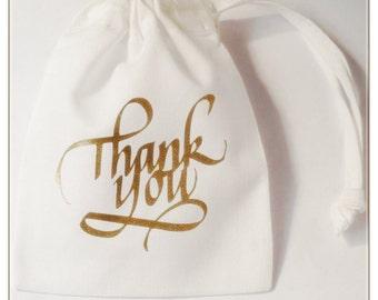 Wedding Favour White Glitter Thank You Gift Bag Bride Groom Bridesmaid Drawstring Bag Pouch